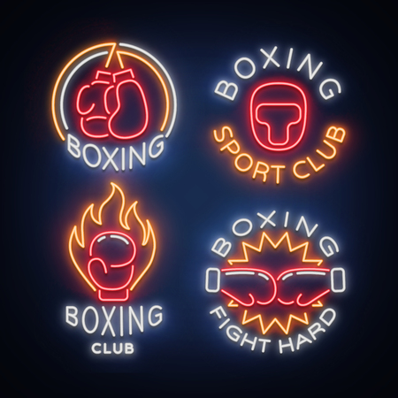 Boxing Sports Club set of logos in a neon style, vector illustration. Collection of neon signs, emblems, symbols for a sports facility on a boxing theme. Neon banner, bright nightlife advertisement.