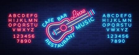 Live muziek neon teken vector, poster, embleem voor live muziek festival, muziekbars, karaoke, nachtclubs. Sjabloon voor flyers, banners, uitnodigingen, brochures en covers. Tekst neonreclame bewerken. Vector Illustratie