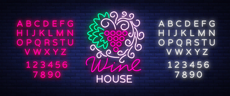 Het ornamentornament van het wijnhuispatroon met in een trendy neonstijl. Logo, badge gloeiende banner. Voor het menu, bar, restaurant, wijnkaart, wijnhuis. Vector illustratie. Tekst neonreclame bewerken.