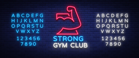 Icon gym sign in neon style isolated vector illustration.