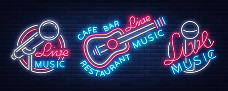 Live music set of neon signs vector icon, poster, emblem for live music festivals and more. Collection of templates for flyers, banners, invitations, brochures and covers.
