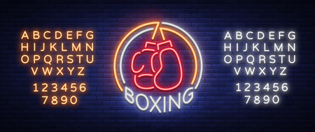 Boxing icon, neon sign emblem is isolated. Vector illustration on sport. The sign is lit, the bright night banner, the neon advertising of sports boxing club. Editing text neon sign. Stock fotó - 89922946