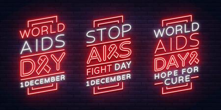 세계 에이즈의 날, 12 월 1 일 배너 모음, 네온 스타일의 포스터 벡터 인식 인식 개념. 텍스트, 빛나는 배너와 디자인.