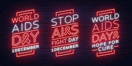 World AIDS Day, December 1, a set of banners, neon-style posters. Vector Awareness Awareness Concept. Design with text, luminous banner. Illustration