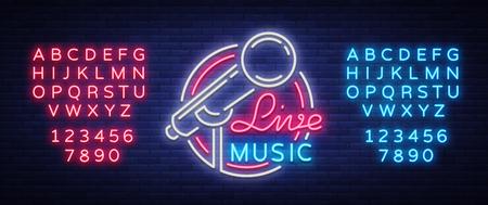 マイクと音楽ベクトル ネオンのロゴ、記号、紋章、シンボル ポスターを住んでいます。明るいバナー ポスター、明るいネオンサイン、広告ナイト