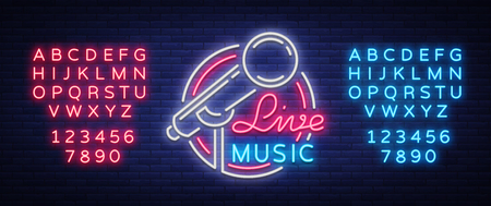 라이브 뮤지컬 벡터 네온 로고, 기호, 엠 블 럼, 기호 포스터 마이크와 함께. 밝은 배너 포스터, 네온 밝은 사인, 유흥 클럽 광고, 노래방, 바 및 기타 음