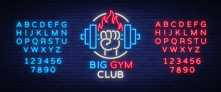 Fitness, gym logo sign in neon style isolated, vector illustration. A glowing banner, a bright neon sign, a night advertisement of a fitness club, a sports hall, a sports club. Editing text neon sign