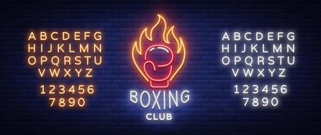 Logo del club di boxe in stile neon, illustrazione vettoriale. Emblema, insegna al neon, simbolo di un impianto sportivo sul tema della boxe. Banner al neon, pubblicità luminosa vita notturna. Modifica del segno al neon del testo. Archivio Fotografico - 89851064