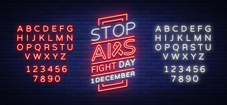 World AIDS Day, December 1, banner, neon-style poster. Vector Awareness Awareness Concept. Design with text, luminous banner. Editing text neon sign. Neon alphabet.