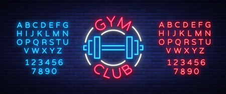 Gym sign in neon style. Ilustrace