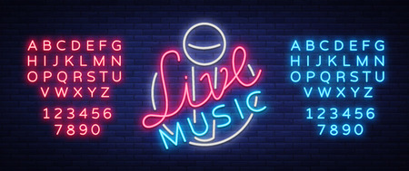 Live music neon sign with letters and numbers.