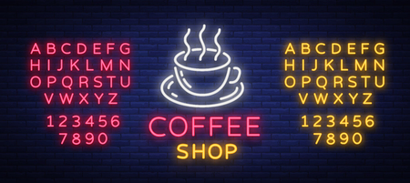 Coffee neon sign vector illustration, emblem in neon style, bright night sign, night advertisement of coffee. Editing text neon sign. Neon alphabet