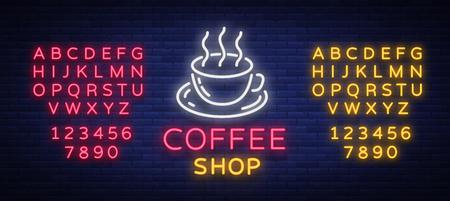 Illustration vectorielle de café néon signe, emblème dans le style néon, signe de nuit lumineux, publicité de nuit de café. Modifier le signe au néon de texte. Alphabet néon