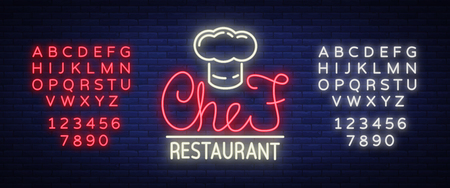 Chef restaurant logo, sign, emblem in neon style. A glowing signboard, a nightly bright banner. Glowing advertisement of a restaurant, a cafe a snack bar. Vector illustration. Editing text neon sign
