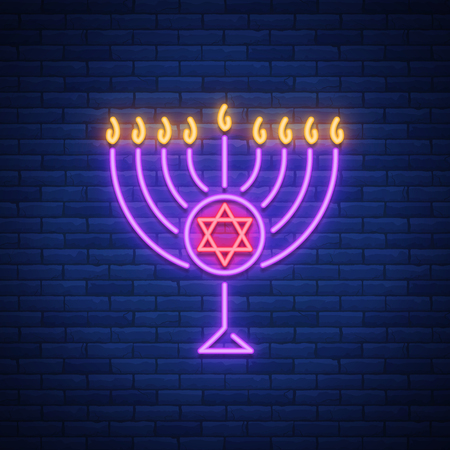 Chanukah vector design - Happy Hanukkah. Neon sign, bright luminous banner for greetings cards. Jewish holiday. Hanukkah Menoru. Illustration