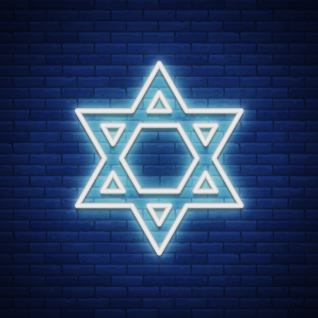 Star of David, neon sign. The symbol of Judaism. Vector illustration.