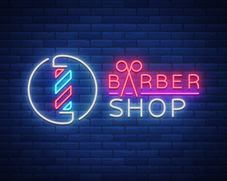 Vector logo neon sign barber shop for your design. For a label, a sign, a sign or an advertisement. Hipster Man, Hairdresser Logo. Neon billboard, bright sign, luminous banner  イラスト・ベクター素材