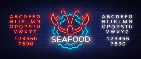 Fruits de mer néon logo icône illustration vectorielle. Emblème de homard, publicité au néon, signe de nuit pour restaurant, café, bar avec fruits de mer. Bannière rougeoyante, un modèle pour vos projets. Modifier le signe au néon de texte. Banque d'images - 90321745