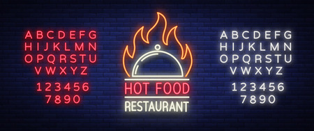 Icon of a hot food restaurant, neon sign, emblem isolated Vector illustration. Bright luminous sign. This icon is suitable for: restaurant, spicy dishes barbecue parties. Editing text neon sign.