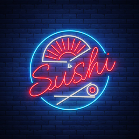 Sushi logo in neon style. Bright neon sign with text is isolated. Seafood, Japanese food. Bright billboard billboard, restaurant advertising bar of Japanese food sushi. Vector illustration