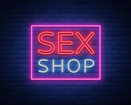 섹스 샵 로고, 네온 스타일의 밤 로그인. 네온 사인, 섹스 샵 프로모션을위한 상징. 성인 매장. 밝은 배너, 야간 광고. 벡터 일러스트 레이션