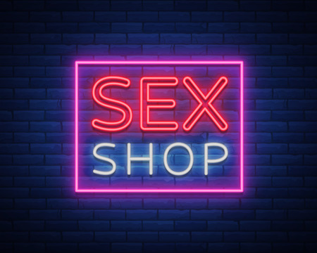 Sex shop logo, night sign in neon style. Neon sign, a symbol for sex shop promotion. Adult Store. Bright banner, nightly advertising. Vector Illustration