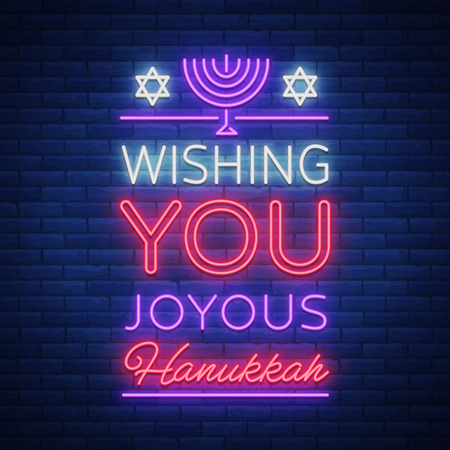 Happy Hanukkah, a greeting card in a neon style