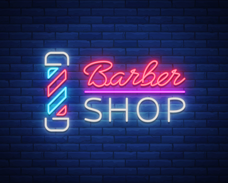 Neon sign barber shop Vectores
