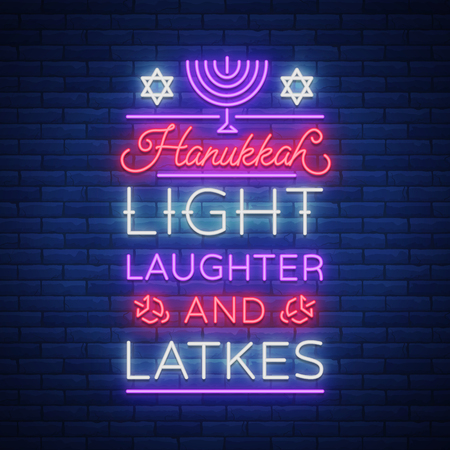 Happy Hanukkah, a greeting card in a neon style. Vector illustration. Neon luminous text on the subject of Chanukah. Bright banner, luminous festive sign. Jewish holiday