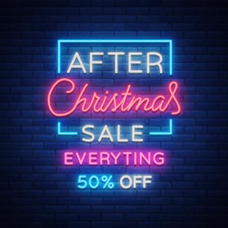 크리스마스 판매, 네온 사인, 밝은 축제 할인 광고. 새 해 카드 판매, 빛 배너입니다. Xmas Winter Discounts, 귀하의 프로젝트를위한 플라이어 플라이어. 벡터