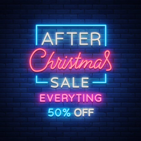 Christmas sales, neon sign, advertising bright festive discounts. New Year card sale, light banner. Xmas Winter Discounts, Flyer Flyer for your projects. Vector illustration.
