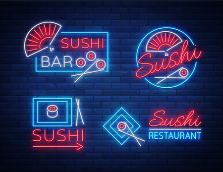 Set of logos, signs in neon style on sushi, Japanese food, seafood. A collection of bright luminous signs, advertising a restaurant bar of Japanese food sushi. Vector illustration. Illustration
