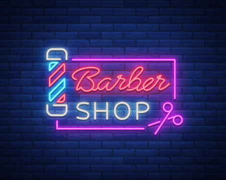 Barber shop logo neon sign, logo design elements. Can be used as a header or template for logos, labels, cards. Neon Signboard, Bright Lighting Advertising Hairdressing. Vector illustration. Vectores
