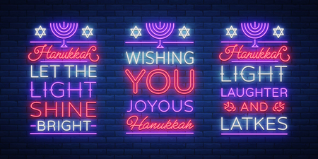 Happy Hanukkah, a greeting card collection in a neon style. Vector illustration. Neon luminous text on the subject of Chanukah. Bright banner, luminous festive sign. Jewish holiday. Ilustrace