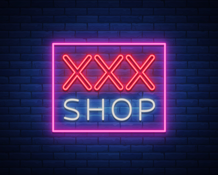 XXX Pattern Logo, xxx concept for adults in neon style. Neon sign, design element, storage, prints, facades, window signs, digital projects. Intimate store. Bright night sign advertising. Vector