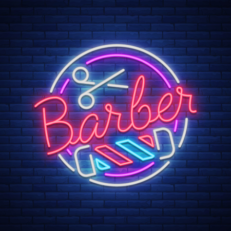 Logo, a neon sign for a hairdresser and barbershop. Emblem, neon style label. Bright advertising billboard advertising banner, luminous banner.