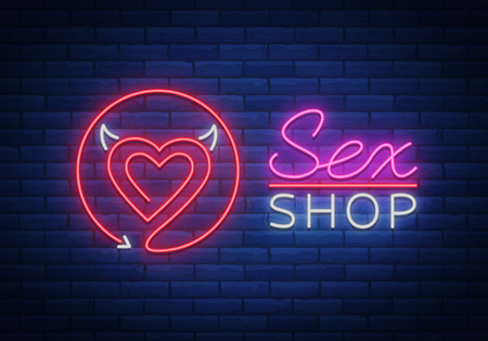 Sex Pattern Logo, Sexy xxx concept for adults in neon style. Neon sign, design element, facades, window signs, digital projects. Intimate store. Bright night sign advertising. Иллюстрация