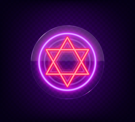 Star of David, neon sign. The symbol of Judaism. Vector illustration. Neon sign on transparent glass