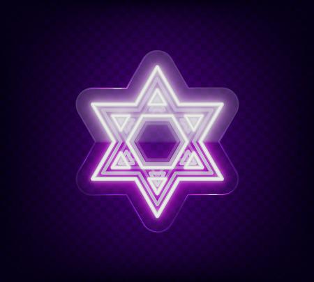 Davidster, neonlicht. Het symbool van het jodendom. Vector illustratie. Neonteken op transparant glas