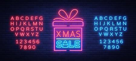 Kerstkortingen, kaartprentbriefkaar in neonstijl. Neonreclame, heldere poster, lichtgevende nachtreclame kerstverkopen. Vector illustratie Tekst neonreclame bewerken. Neon alfabet. Stock Illustratie