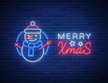 Merry Christmas, welcome card, done in neon style isolated. Neon sign on the Christmas theme. Bright banner, luminous advertising, bright festive night sign. Vector illustration