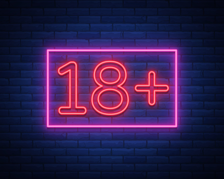 Eighteen plus, age limit, sign in neon style. Only for adults. Night bright neon sign, symbol 18 plus. Vector Illustration
