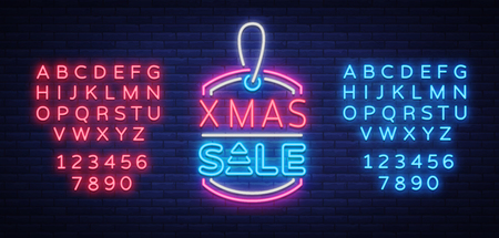 Christmas sales, neon sign, advertising bright festive discounts. New Year card sale, light banner. Xmas Winter Discounts, Flyer Flyer for your projects. Vector illustration. Editing text neon sign