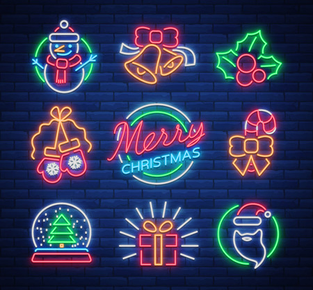 Christmas neon signs. Vector illustration on winter holidays. Neon luminous symbols for New Year and Christmas projects greetings cards, posters, banners, flyers. Illustration