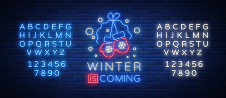 Winter is coming, a neon sign on Winter holidays. Bright neon sign, luminous banner. Vector illustration for your winter projects.
