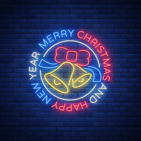 Merry Christmas and Happy New year neon sign vector illustration