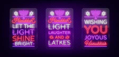 Happy Hanukkah, a greeting card collection in a neon style. Vector illustration. Neon luminous text on the subject of Chanukah. Bright banner, luminous festive sign. Neon sign on transparent glass