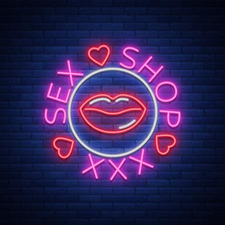 セックス ショップのロゴ、エンブレム ネオン スタイル。ネオン効果, 食料品店, 親密なアイテム。ベクトルの図。明るい夜バナー、発光サイン、夜  イラスト・ベクター素材