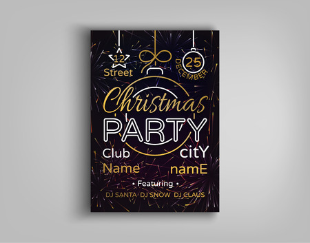 Christmas party card flyer invitation. Vector illustration for two Christmas festive projects. Merry Christmas