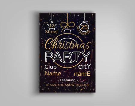 Uitnodiging voor kerstfeest kaart flyer. Vector illustratie voor twee kerst feestelijke projecten. vrolijk kerstfeest